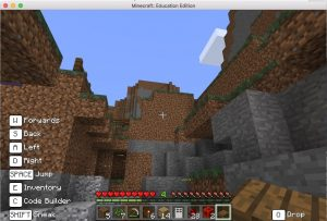 The ravine in Minecraft training world