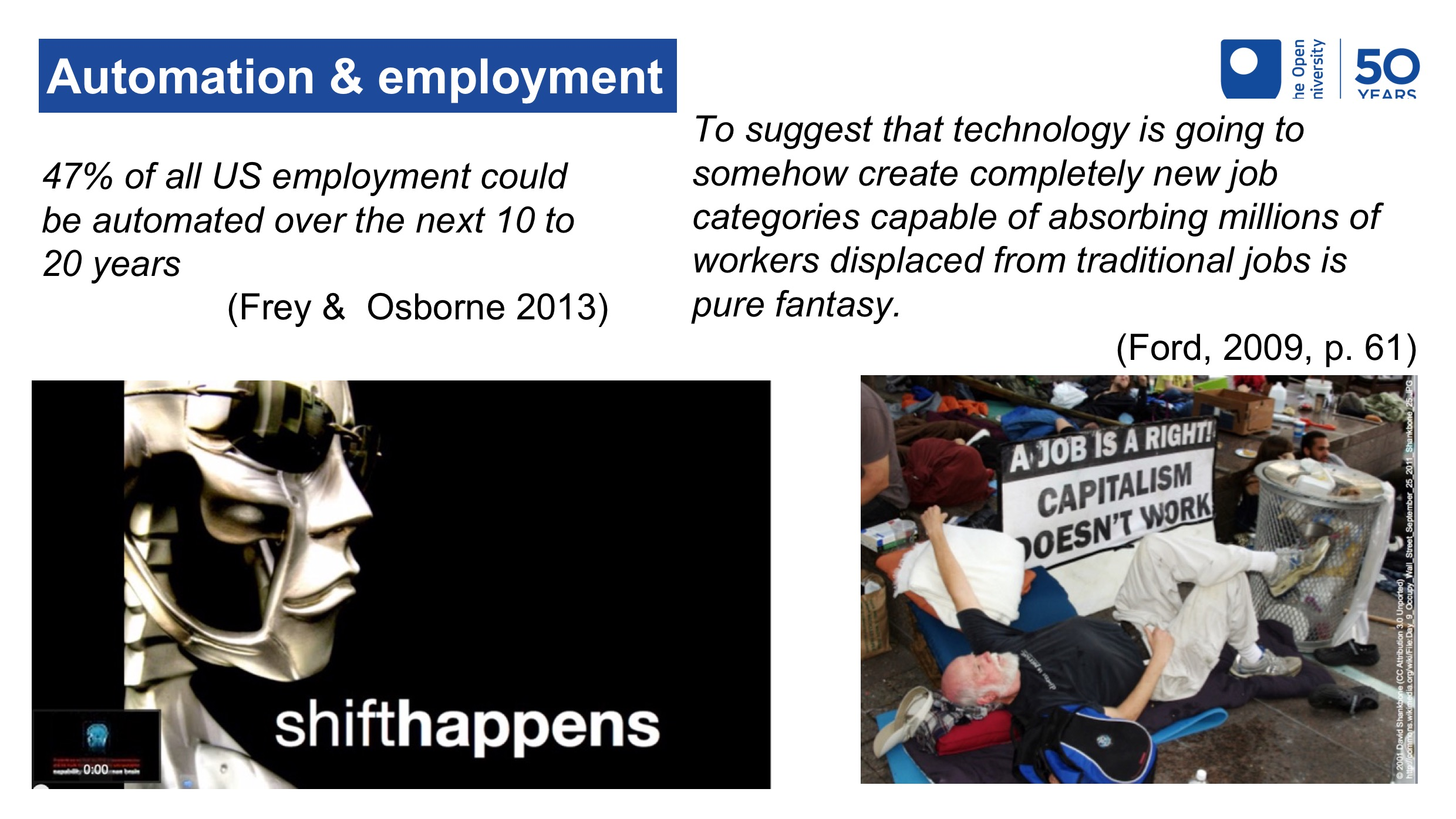 Images and quotes representing different views of the impact of automation on employment