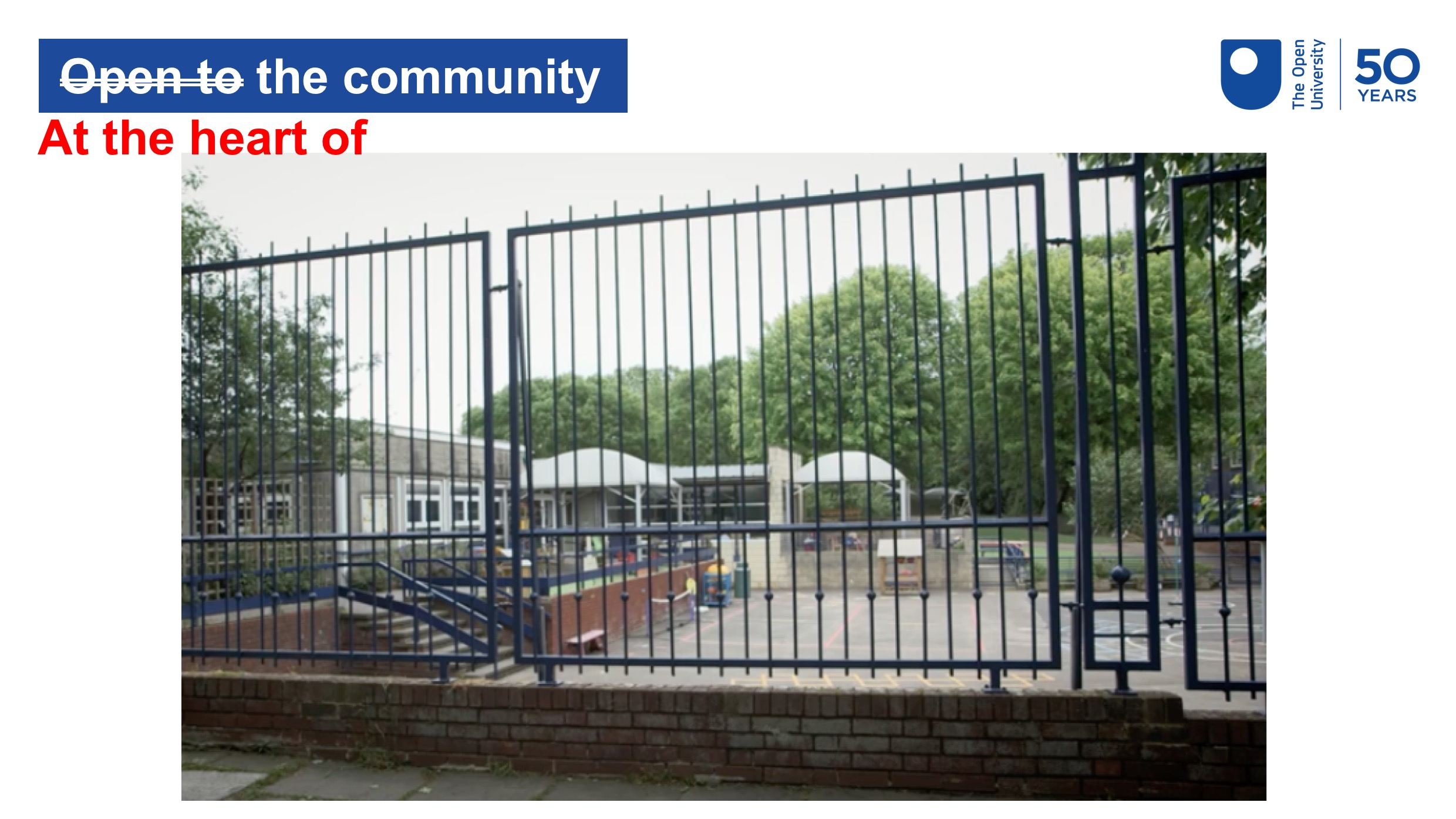 Photo of a metal security fence around a school