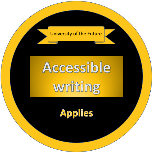 Accessible writing - Applies Badge